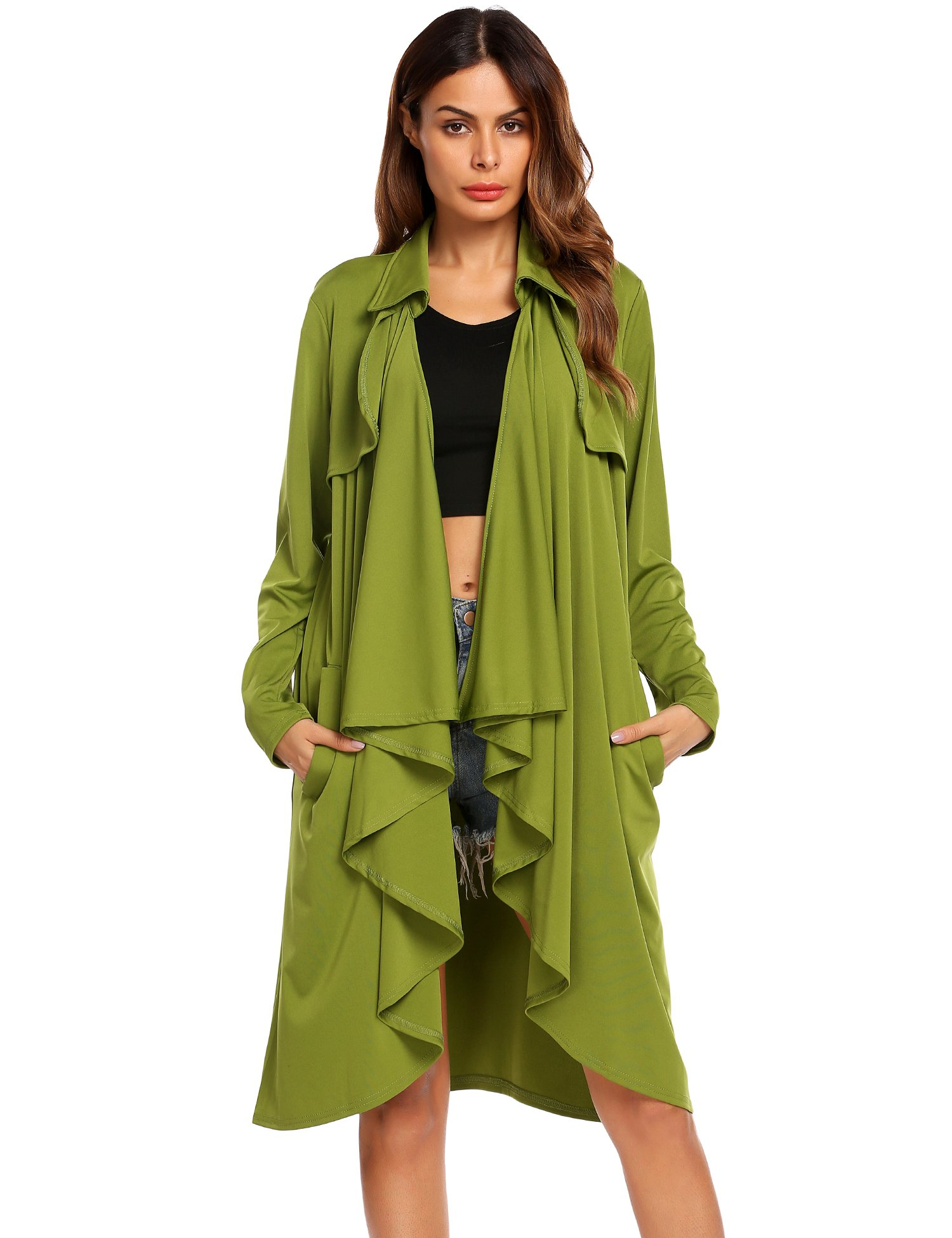 Showyoo Women Solid Lightweight Lapel Open Front Long Trench Coat Cardigan Army Green M