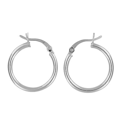8b42b72e06e39 Sterling Silver Hoop Earrings 2mm x 20mm