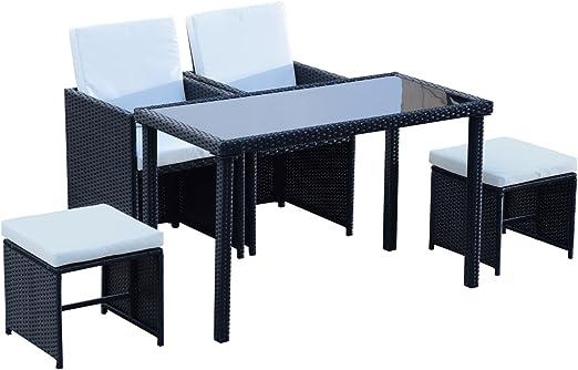 Outsunny Conjunto Salón de jardín encastrable 2 sillones Monoblocs + 2 taburetes + mesa baja resina trenzada 4 Hilos cojines déhoussables crema negro 015: Amazon.es: Jardín