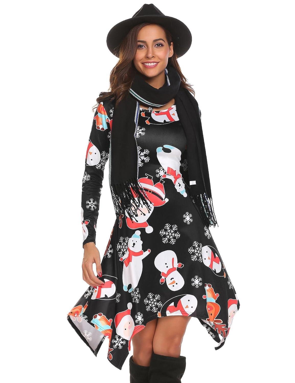 60e588a36a etuoji Women s Long Sleeve Casual Plain Flowy Irregular Hem T-Shirt Loose  Dress at Amazon Women s Clothing store