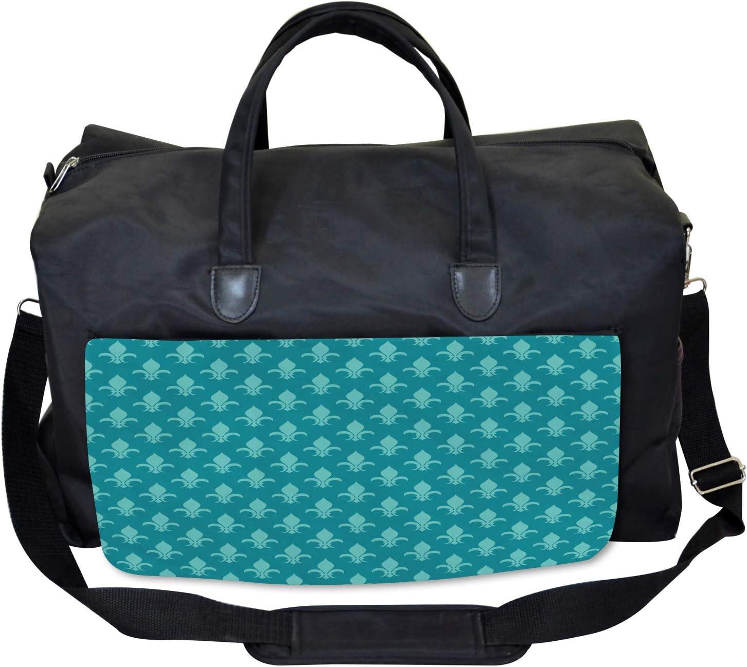 Retro Damask Pattern Ambesonne Fleur de Lis Gym Bag Large Weekender Carry-on