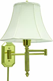 product image for House Of Troy WS-706 16-1/2-Inch Swing Arm Wall Lamp, Polished Brass with Off-White Softback Shade