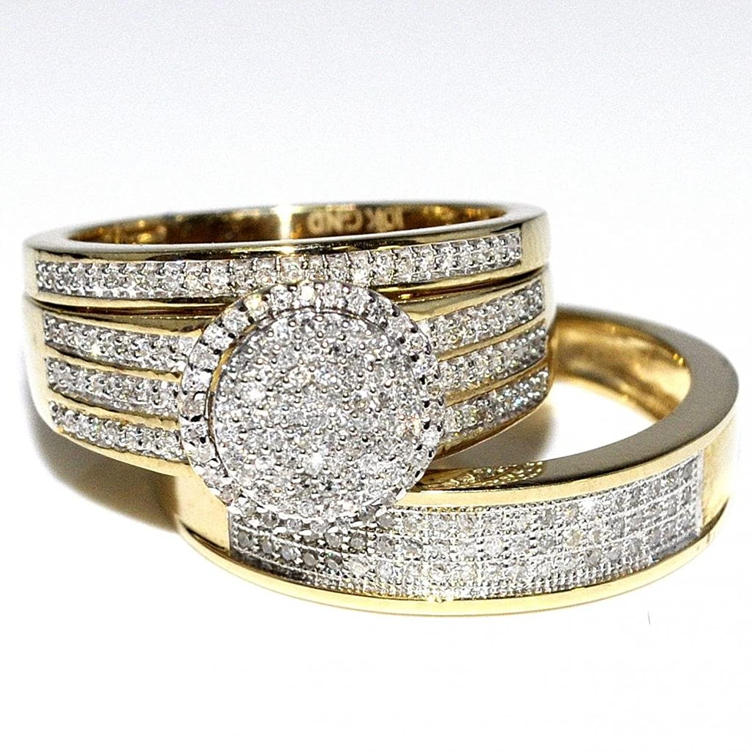 Amazoncom RingsMidwestJewellery His Her 10k Yellow Gold Halo