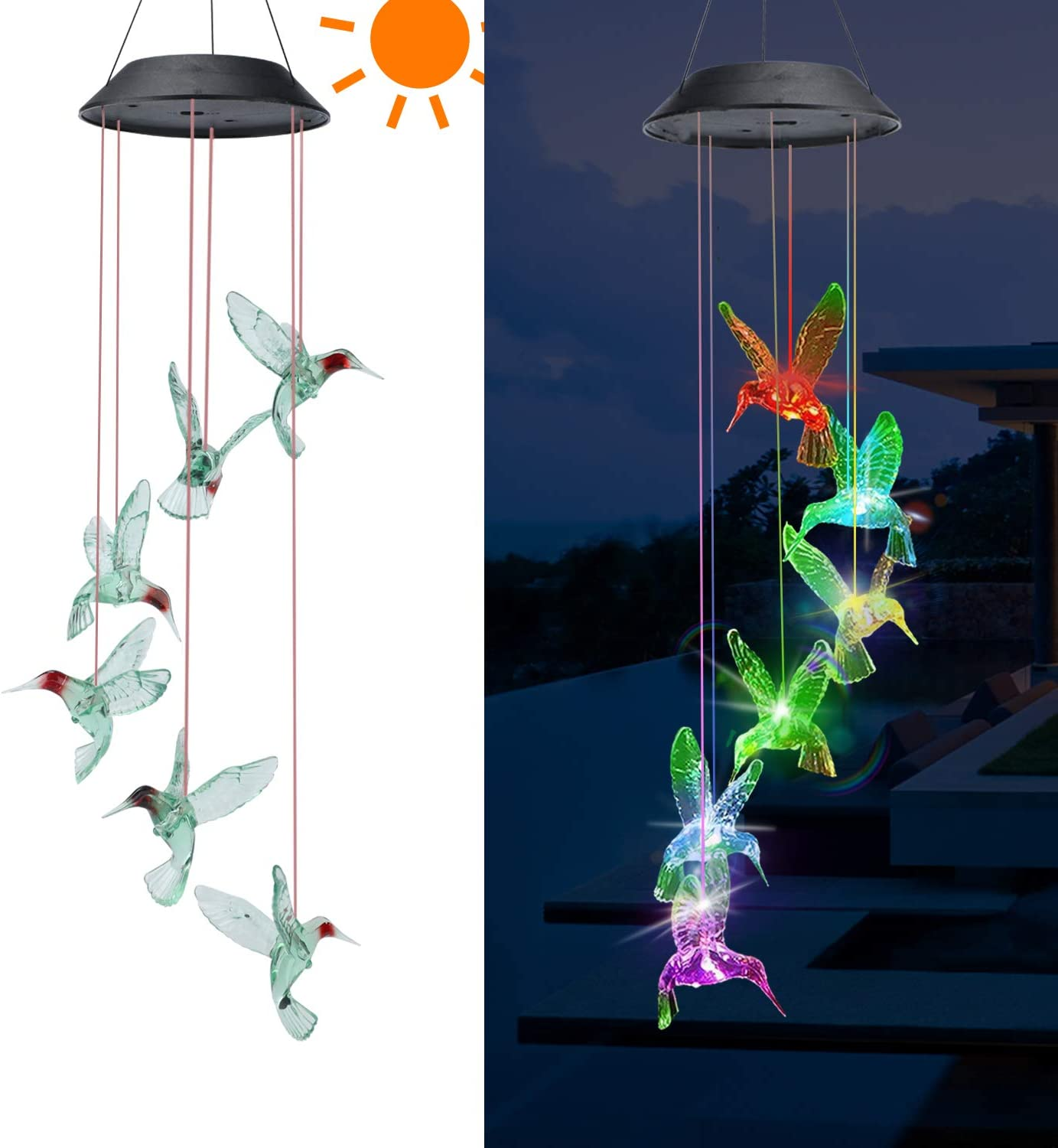 Outdoor Solar Garden Decorative Lights - Solar String Lights,Solar Bird Wind Chime Color Changing Hummingbird Solar Light for Walkway Pathway Backyard Christmas Decoration Parties