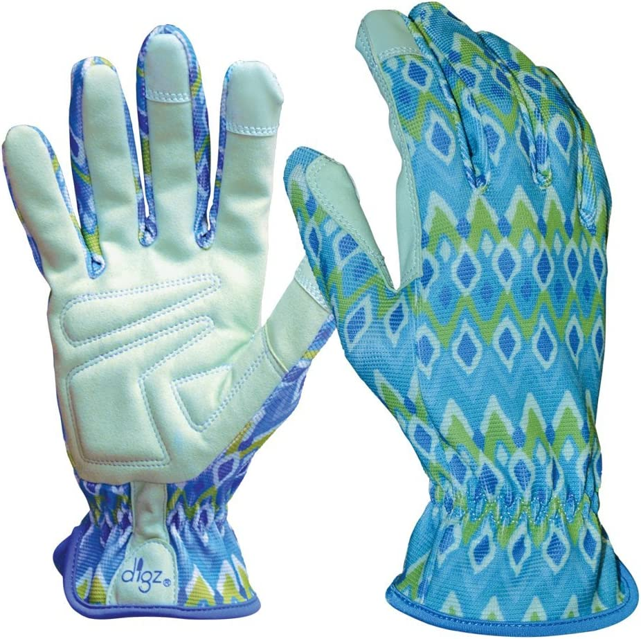 DIGZ Planter Pro Women's Gardening Gloves and Work Gloves with Touch Screen Compatible Fingertips, Diamond Pattern, Small