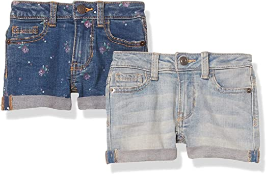 4T Essentials 2-Pack Girls Denim Jean Short Flowers//Light Wash