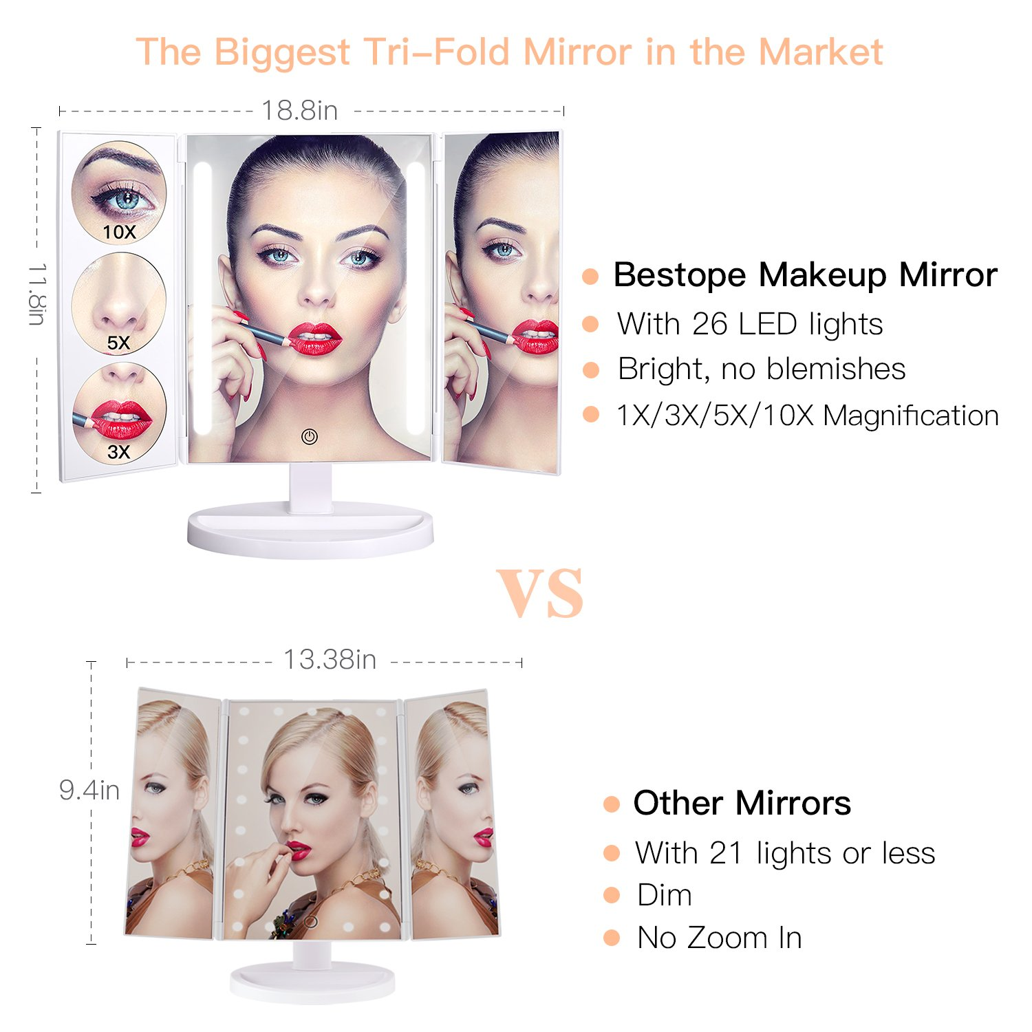 BESTOPE Makeup Mirror Oversize 18.8inch Lighted Vanity Mirror with 10X/5X/3X Magnification, 26 LED Light Trifold Cosmetic Mirror with 360° Rotation and Touch Screen by BESTOPE (Image #1)