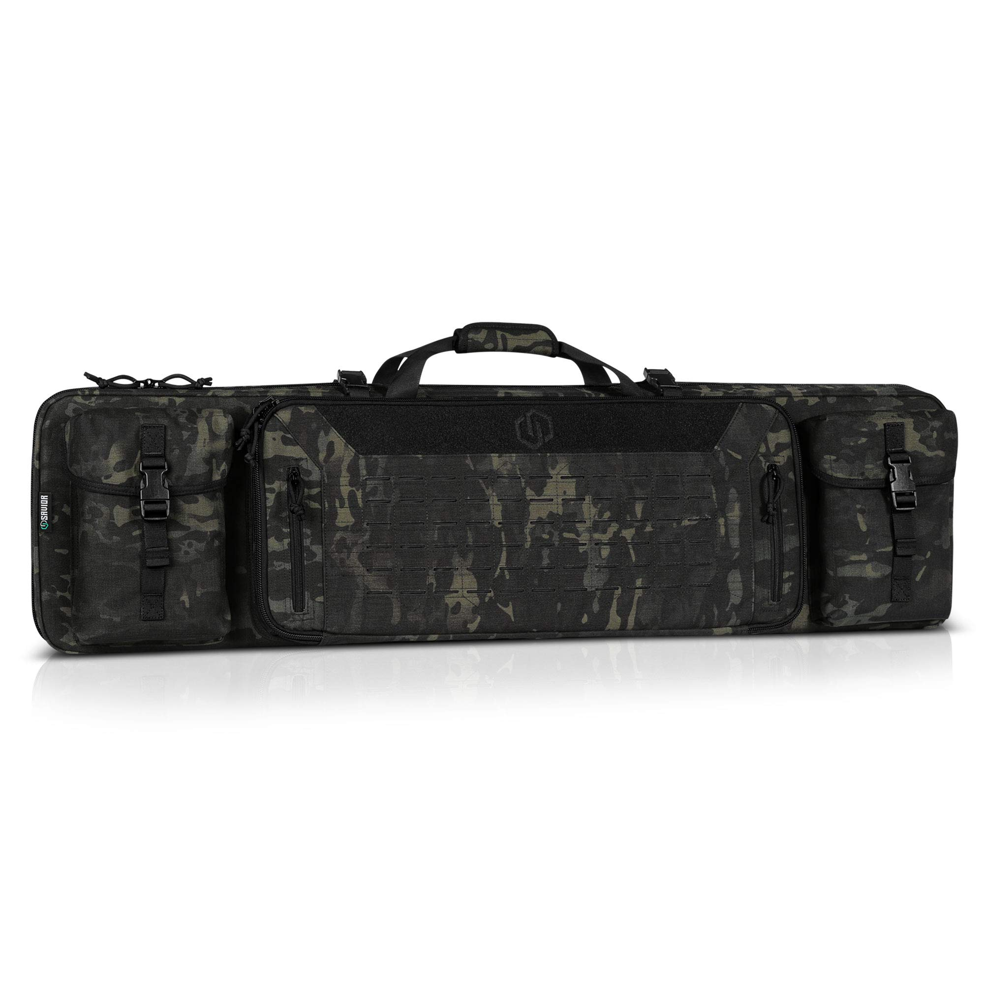 Savior Equipment 46'' Urban Warfare Multicam Black Tactical Double Carbine Long Rifle Bag Firearm Gun Case w/Removable Backpack Strap - 1000D Cordura Nylon Fabric, UTX Buckles, YKK Zippers by Savior Equipment
