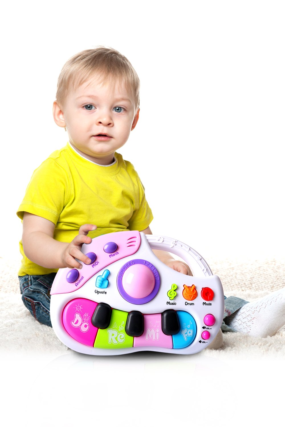 Musical Toys, Baby Keyboard Piano with Microphone Drums Music Electronic Learning Educational Toy for Kids Baby Toddler for 6 Months Up Gifts for Toddler Girl Boys