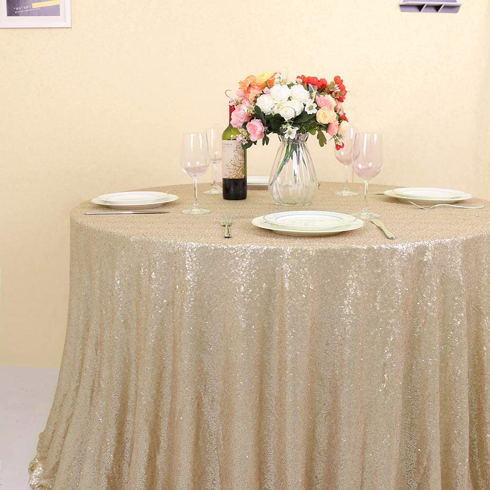 GFCC Silver 60 x 105 Inch Rectangle Sequin Tablecloth for Wedding Party Dinner Table Cover