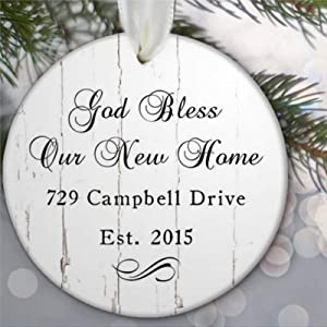 DONL9BAUER Christmas Ornament Our New Home Ornament, God Bless Our New Home Address Holiday Tags Round Porcelain Ceramic Souvenir Custom Decor Anniversary Christmas Tree Decoration