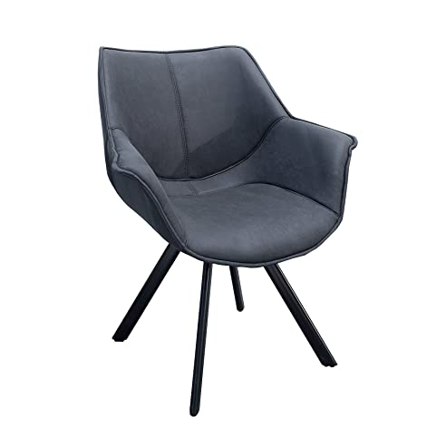 Design Stuhl THE DUTCH RETRO Antik Schwarz Mit Armlehne Metall Esszimmer  Sessel Polsterstuhl Bürosessel