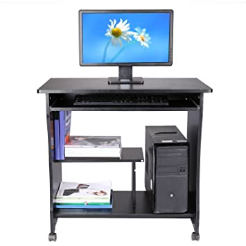 Amazon.com: Ferty Movable Computer Wooden Desk Table, Rolling ...