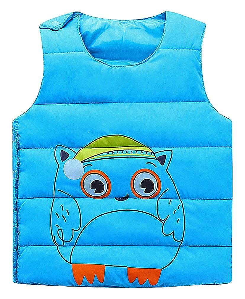 BPrince Kids Side Buttoned Quilted U Neck Owl Cartoon Print Down Waistcoat