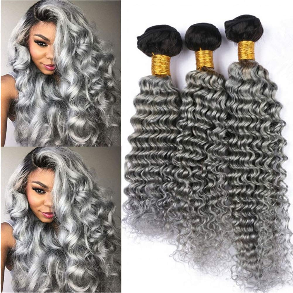 "#1B/Grey Ombre Deep Wave Human Hair Bundles Deals 3Pcs Virgin Brazilian Hair Deep Wave Curly Ombre Silver Grey Weave Bundles 2 Tone Ombre Double Wefts 10-30"" Mixed Length (12 14 16)"