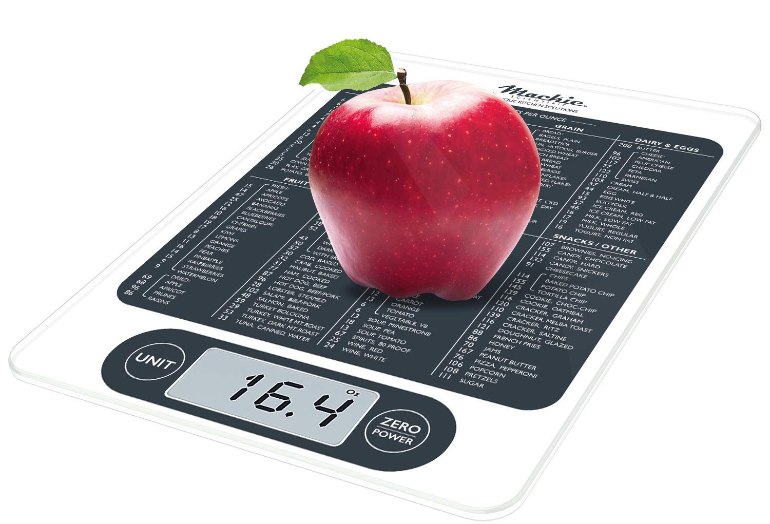 Mackie C19 Digital Kitchen Scale Food Scale and Multifunction Calorie Scale Highly Accurate Capacity 12 lbs 5.44kgs 4 min. Hold Before Powering Off