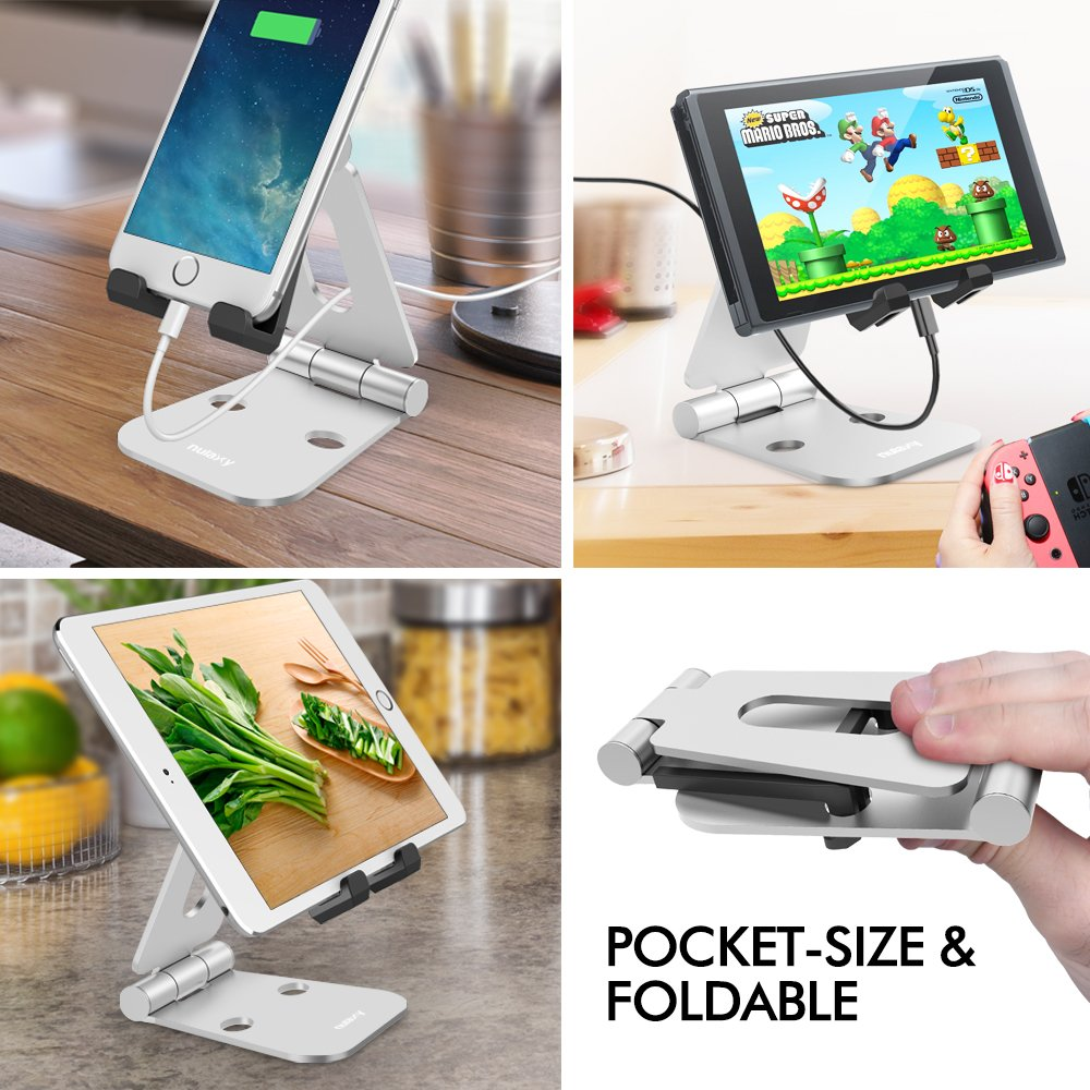 Nulaxy Dual Foldable Phone Stand, Multi-Angle Cell Phone Tablet Video Game Stand for Nintendo Switch iPhone X 8 7 6 Plus 5 5c, Accessories, iPad Universal for All Other Tablets Phones-Silver by Nulaxy (Image #6)