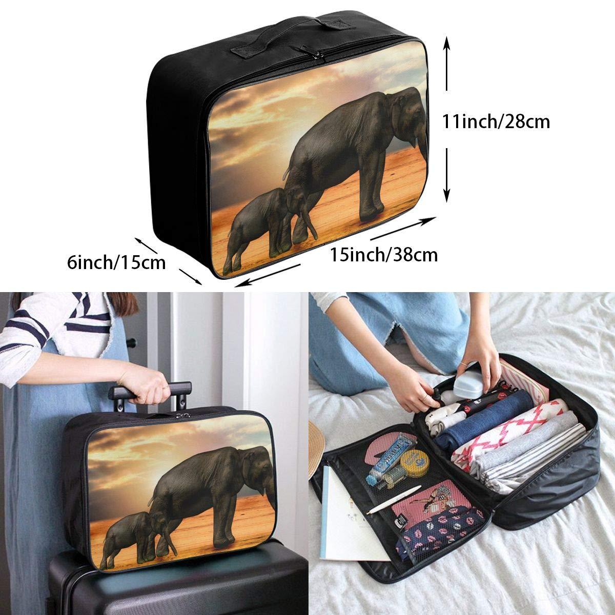 ADGAI Elephant and Baby Elephant in The Sunset Canvas Travel Weekender Bag,Fashion Custom Lightweight Large Capacity Portable Luggage Bag,Suitcase Trolley Bag