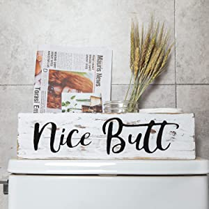 Aphei Nice Butt Bathroom Decor Box, Wooden Farmhouse Rustic Home Toilet Paper Holder Stand, Funny Cute Restroom Storage Organizer, White