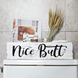 Aphei Nice Butt Bathroom Decor Box, Wooden Farmhouse Rustic Home Toilet Paper Holder Stand, Funny Cute Restroom Storage Organ