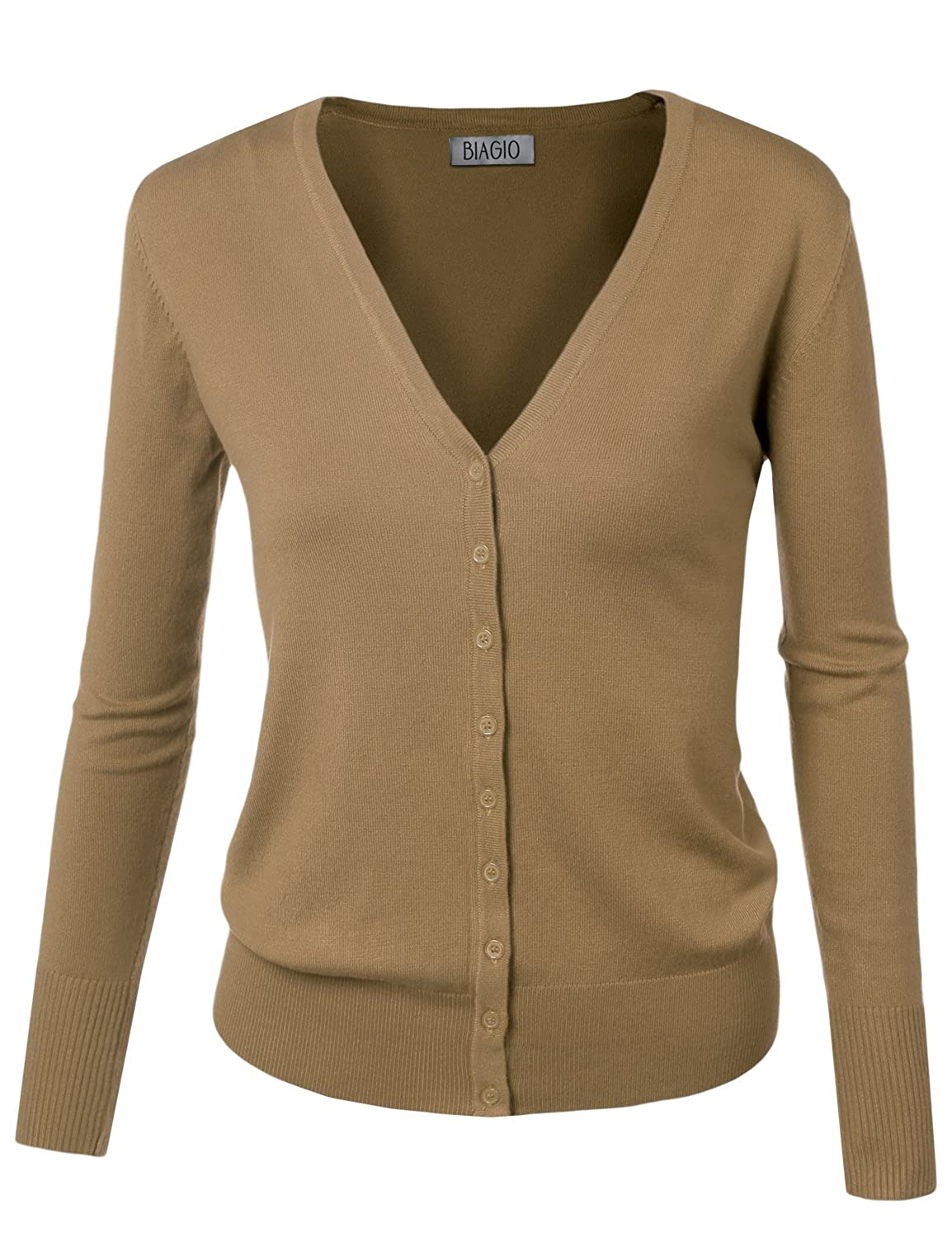B.I.L.Y BILY Women's V-Neck Button Down Long Sleeve Soft Classic ...