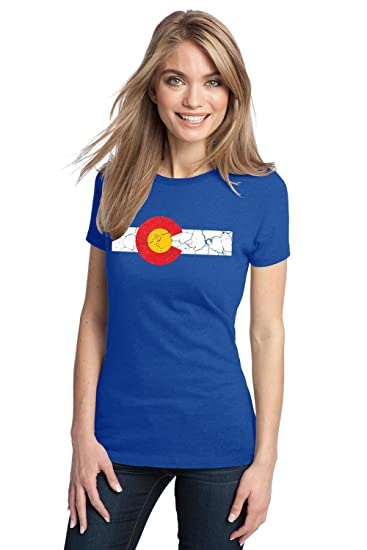 1da42df8ee3c1b Amazon.com  Colorado State Flag Distressed Ladies  T-Shirt Vintage Look CO  Denver Tee  Clothing