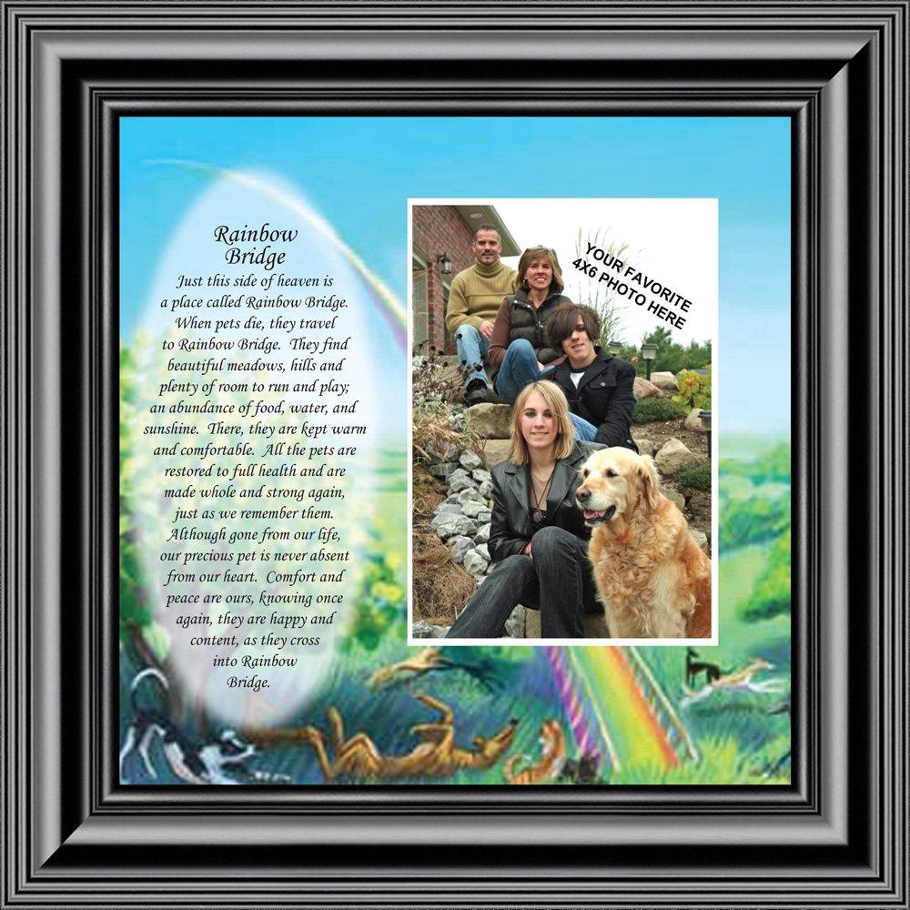 Personally Yours Rainbow Bridge, Loss of a Pet, Memorial Frame, 10x10 6766 (10x10, Black1)