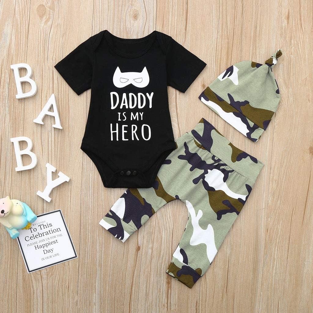 3pcs Neonato Unisex Pagliaccetto Cappello Costume Set Bambino Lettera Body Tutine Baby Camo Pantaloni