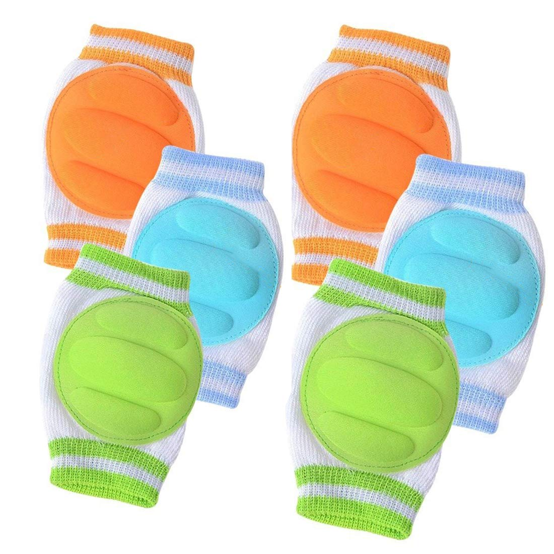 Naliovker 10 Pairs Baby Crawling Anti-Slip Knee Pads and Elbow Pads Unisex Baby Toddlers Leg Warmer Safety Protective Cover Infant Short Kneepads