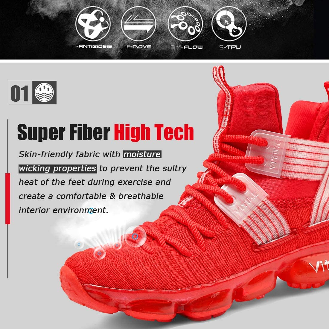WETIKE Girls Basketball Culture Shoes Air-Cushion Comfortable Casual Fashion Sneakers for Boys Breathable Girls Basketball Shoes Non-Slip High Top Shoes for Boys Shoes Tennis Shoes Size 13 Red
