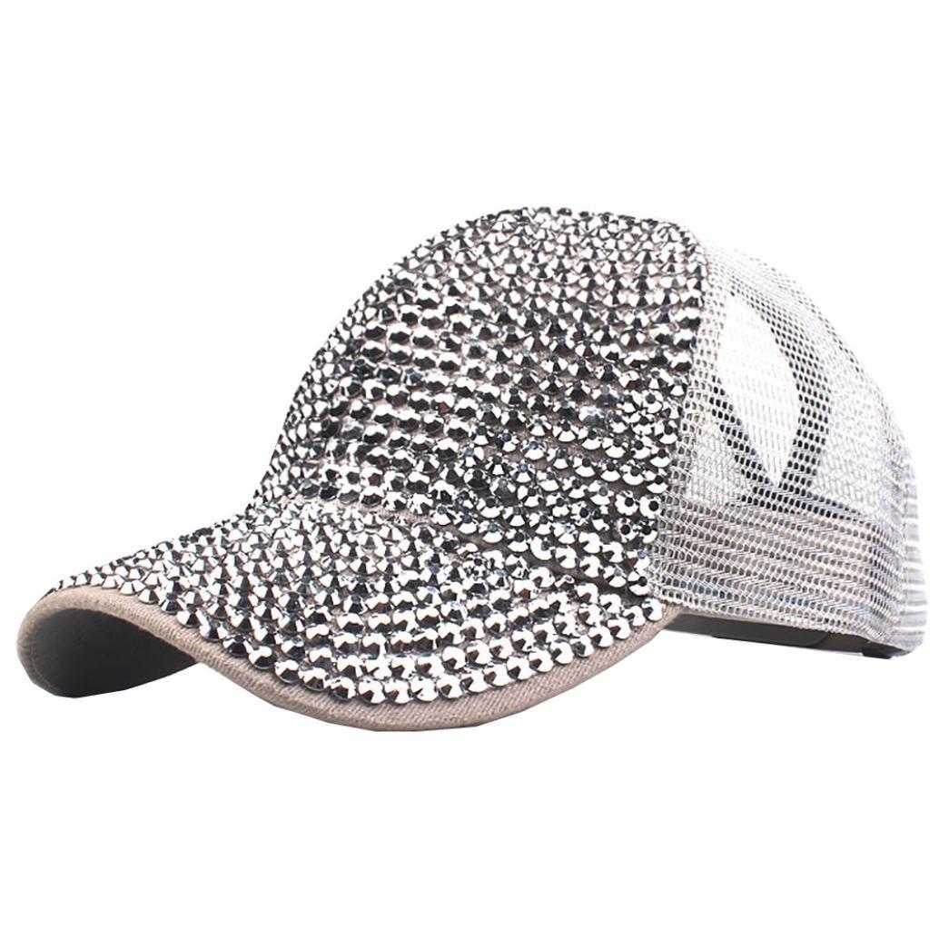 Mesh Baseball Cap Ankola Women Girls Adjustable Rhinestone Pure Color Baseball Cap Hat D)