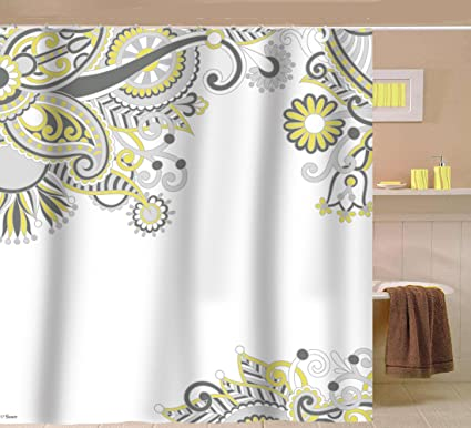 Sunlit Designer Floral Swirls Indian Print Fabric Shower Curtain