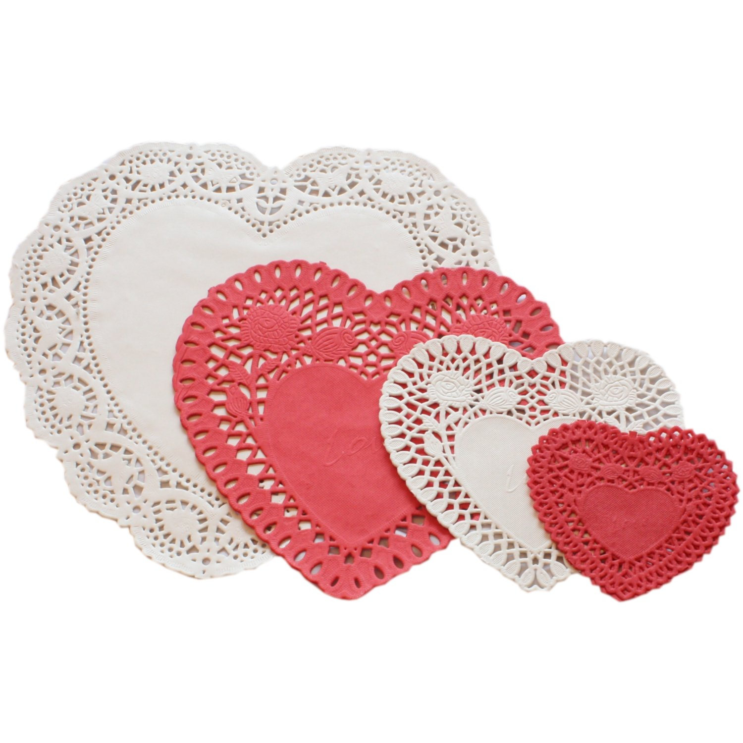 24 Red White Heart Paper Doilies Kitchen Home Doyleys