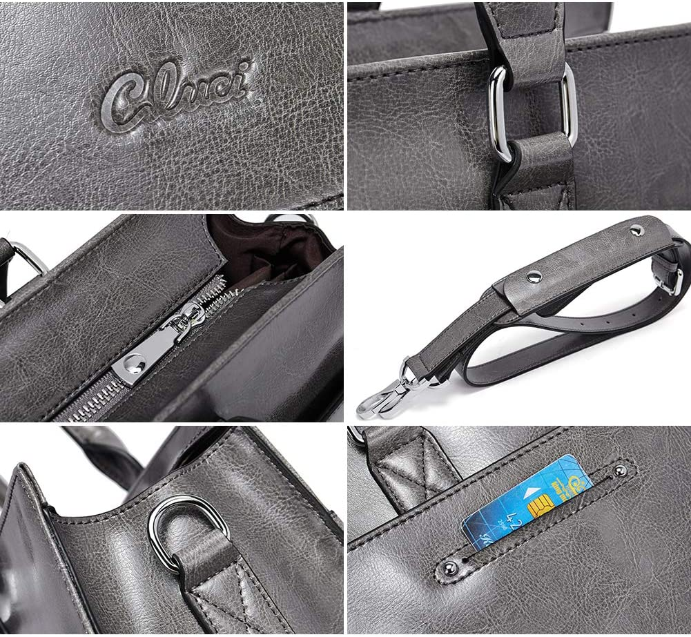 /Ölwachs Leder Damen Aktentasche f/ür 15,6 Zoll Laptop Vintage Business Fraun Schultertasche braun