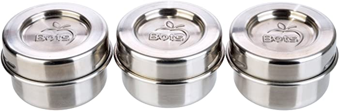 LunchBots Tiny Dips Condiment Containers - Set of 3 - Perfect Portion Cups - Spill Proof Lunch Box Sauce Container with Lid - Food Grade Stainless Steel - 1.5oz - Dishwasher Safe - Stainless Lids