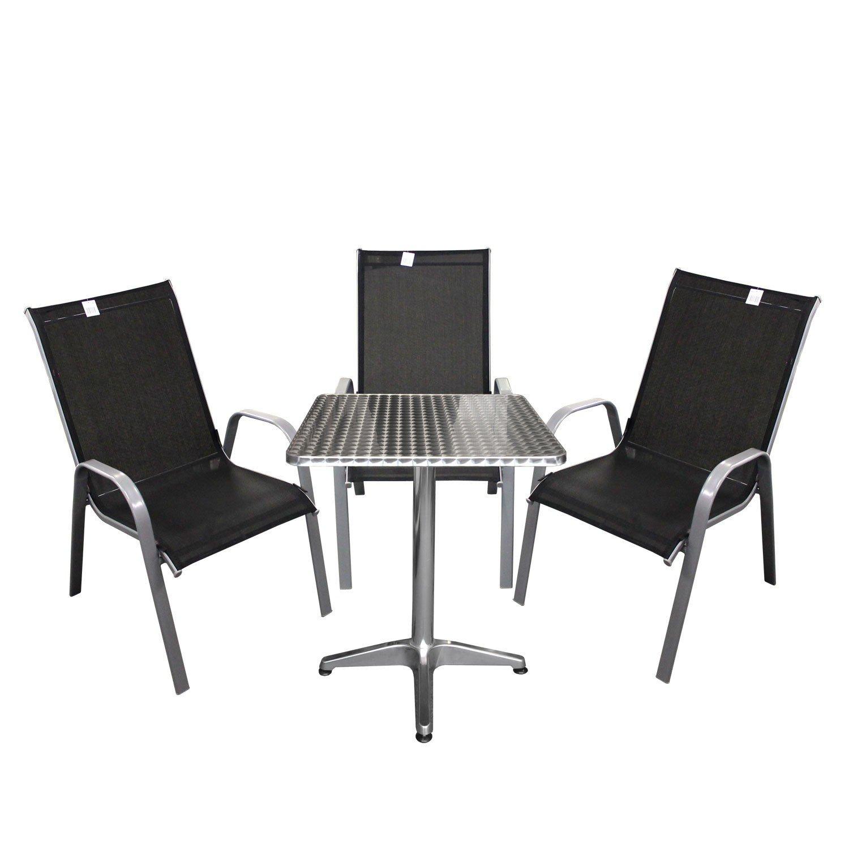 4tlg bistrogarnitur bistro set balkonm bel aluminium bistrotisch 60x60x70cm gartenstuhl. Black Bedroom Furniture Sets. Home Design Ideas