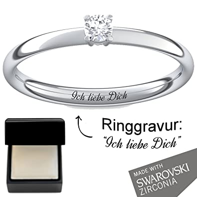 Engagement Rings Set With Swarovski Ring Engraving Luxury