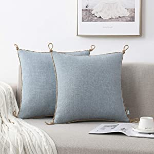 NordECO HOME Pack of 2 Throw Pillow Covers - Burlap Linen Trimmed Tailored Edges Decorative Cushion Covers for Bed Home Decoration, 20 x 20, Light Blue