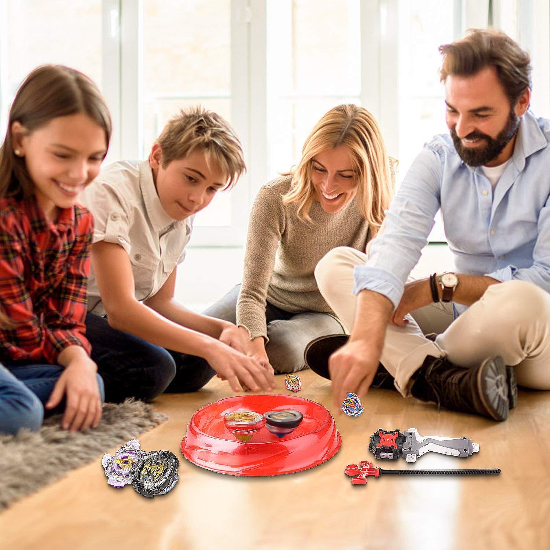 Geburtstag Surhomic Gyro Set 4D Beyblade Kit Fusion Modell Metall Masters Beschleunigungslauncher Speed Kreisel mit Basis-Arena Eltern-Kind-Interaktionsspiel Kinder Spielzeug Ostern Weihnachten