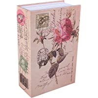 Book Safe Box, Portable Hidden Security Rose Book Storage Case with Key Lock Travel Home Jewelry Passport Money Cash…