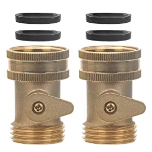STYDDI 3/4 in Solid Brass Shut Off Valve Garden Hose Connector, 2 Pack Heavy Duty Water Hose Turn Off Ball Valve Adapter Fittings with 4 Extra Hose Pressure Washers