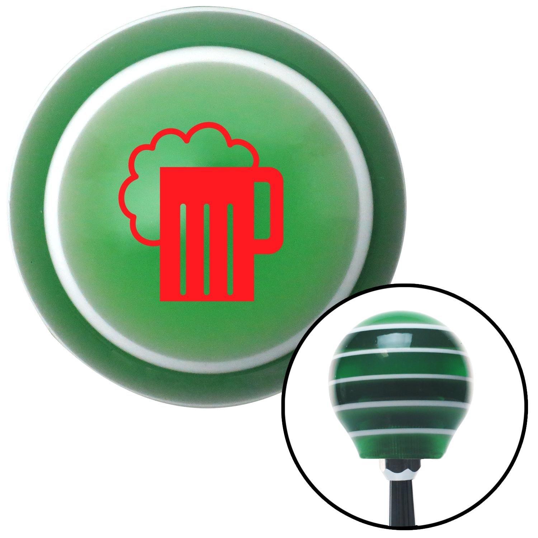 American Shifter 122396 Green Stripe Shift Knob with M16 x 1.5 Insert Red Foaming Mug