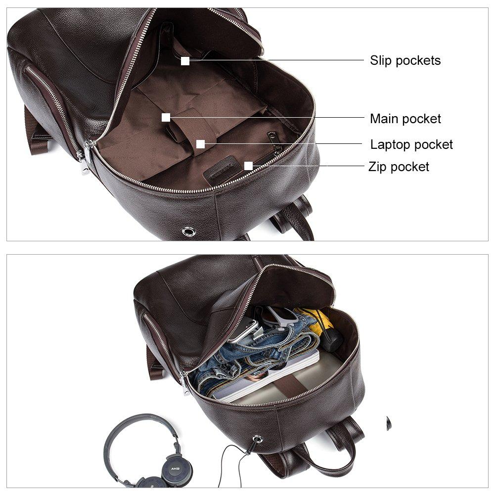 Amazon.com: BOSTANTEN Leather Backpack School Laptop Travel Camping Shoulder Bag Gym Sports Bags for Men Coffee: BOSTANTEN
