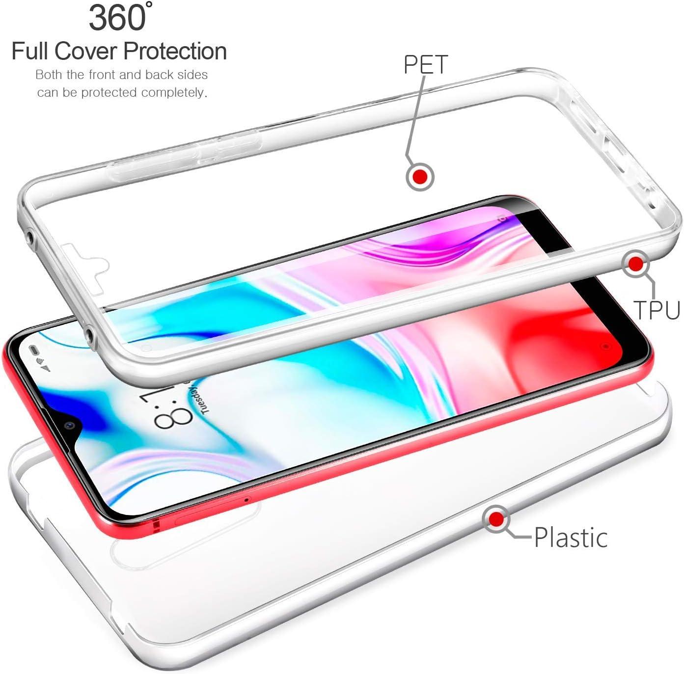 Antichoc pour Clair et Lumineux Housse /Étui Silicone Anti-Rayures YuhooTech Coque Xiaomi Mi 9 Lite Ultra Mince Anti-d/érapant Transparent TPU Avant+PC Arri/ère 360 Degr/és Protection Complete