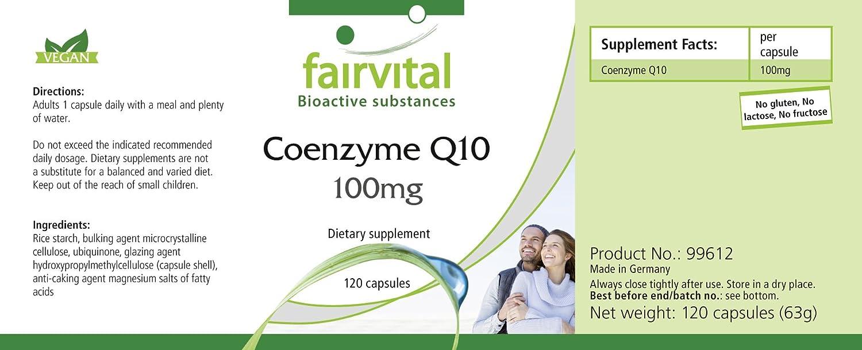 Co-enzima Q10 100mg - GRANEL durante 4 meses - VEGAN - ALTA DOSIS - 120 cápsulas - ubiquinona: Amazon.es: Salud y cuidado personal