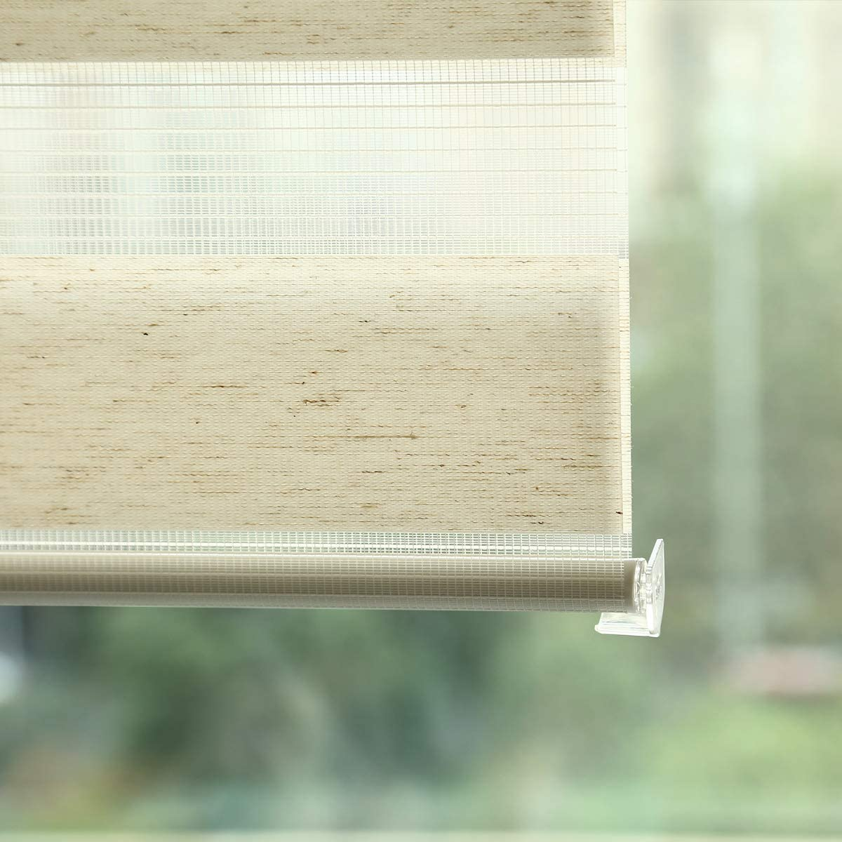 Grandekor Stores Jour Nuit sans Percage Tissu Double Rideau Occultants Fenetre Interieur Klemmfix Opaque et Tamisant Moderne pour Cuisine Bureau Chambre Bande Lin 40x150cm