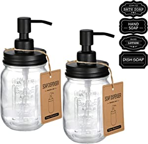 Amolliar Mason Jar Liquid Soap Dospenser -Rustproof Stainless Steel Replacement - Farmhouse Decor for Kitchen/Bathroom,Liquid Soap Pumps for Hand Soap,Dish Soap,Lotions/Black-2 Pack