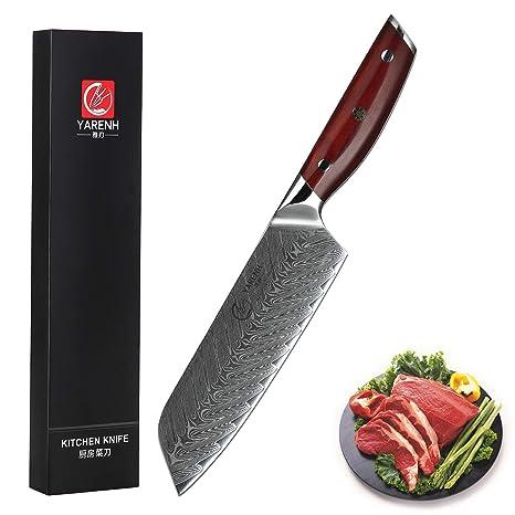 YARENH Cuchillo Santoku Damasco 18 cm - Cuchillos de Cocina Profesionales de Acero de Japoneses Damasco & Mango de Madera Dalbergia,Cuchillo de Chef ...