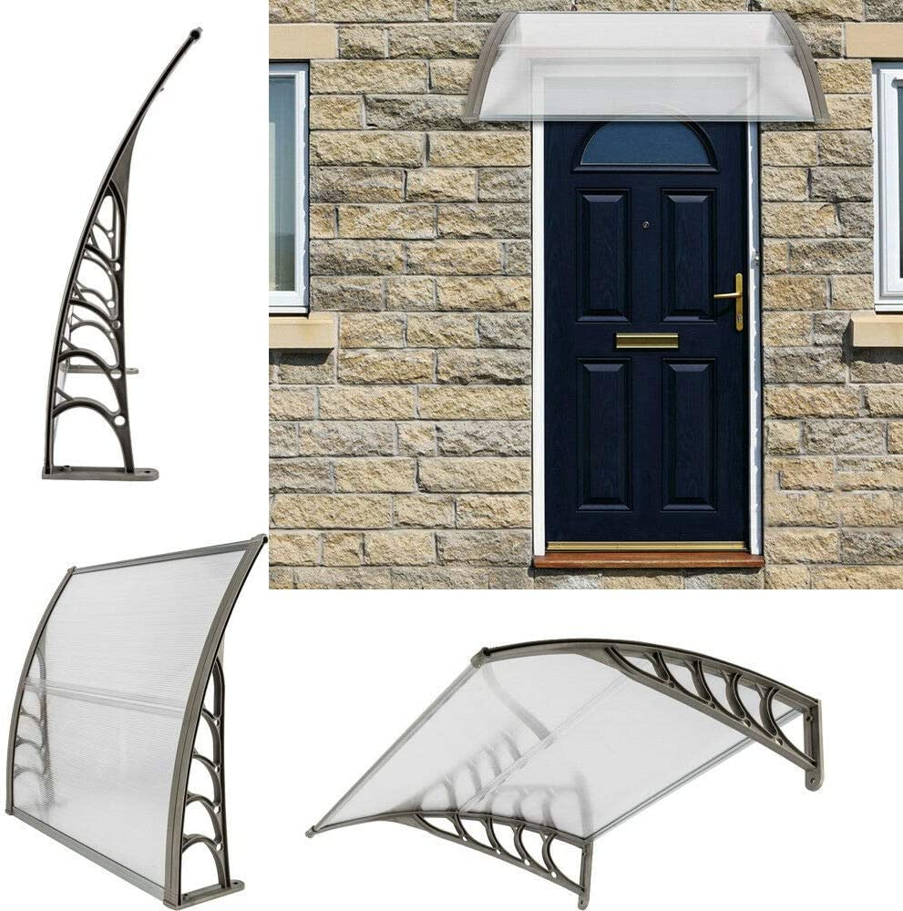 "OxiQmart DIY 40"" x 40"" Polycarbonate Awning Canopy for Window&Door Rain Snow Protection"