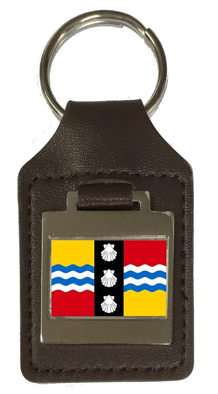 Leather Keyring Engraved Bedfordshire County England Flag